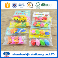 New style 4 animals eraser loaded PVC card head bag 3D glue rubber for children and office