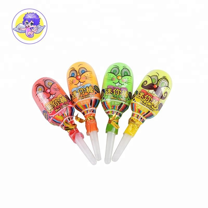 mixed fruit flavor mini lollipop toy with rolly lick liquid candy