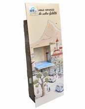 Sturdy paper cardboard display stand, foldable brochure shelf,a4 document display holder