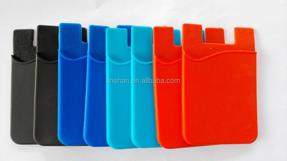 3M Adhesive OEM Printing wholesale silicone mobile phone case card holder wallet