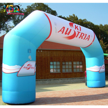 8m event used inflatable arch with printing / blue and white color inflatable archway for race game