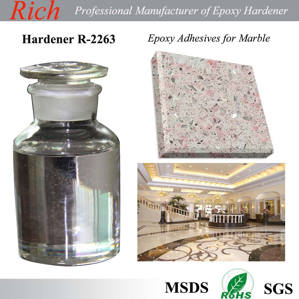 Clear epoxy hardener R-2263 for Stone repairing epoxy,color sand flooring, epoxy AB glue