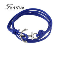 Multilayers Braided Pu Leather Anchor Chain Bracelets