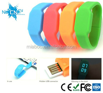 bulk cheap watch usb flash drives wholesale, custom 16GB multifunction Silicone Bracelet LED usb watch