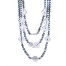 Fashion Jewelry Wholesale Three Layered Grey Plastic Pearl Necklace