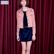 New short section jacket women retro long-sleeved custom embroidered jacket small