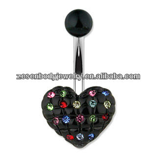 black heart shaped belly button ring with colorful crystal body piercing jewelry with stainless steel and acrylic balls