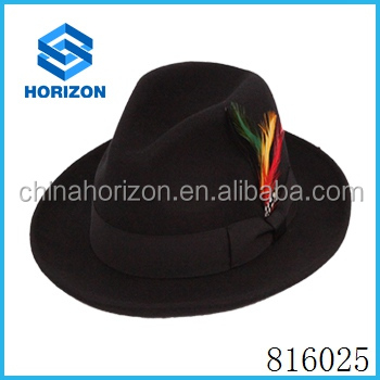 High quality wool felt hat with feather decoration for women and men