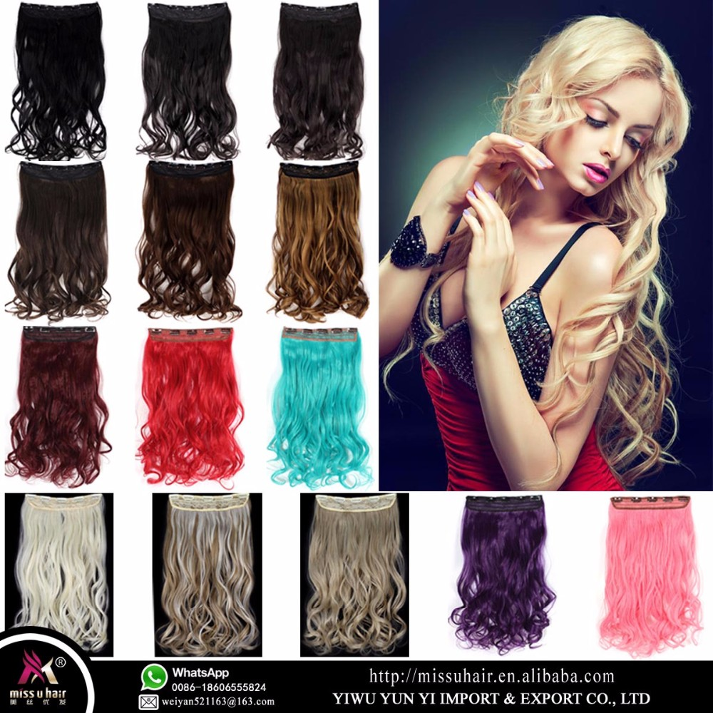 Miss U Hair Smooth Soft Synthetic 5Clips Bulk Hair Long Wavy Curly clip in hair extension piece for women <strong>W003</strong>