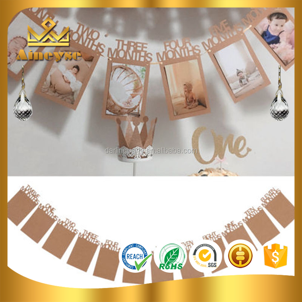 Baby Kids 1st Birthday Party Photo Frame Bunting Banner for Home Decor
