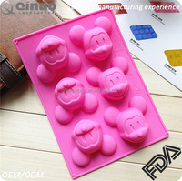 Free shipping cartoon mould mickey mouse 6 cavities FDA silicone cake mold