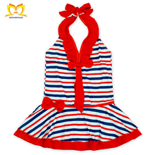 2017 National Day Girls Red Bow Strap White Blue Fringe Swimwear Wholesale Kids Baby Stylish Swimsuit