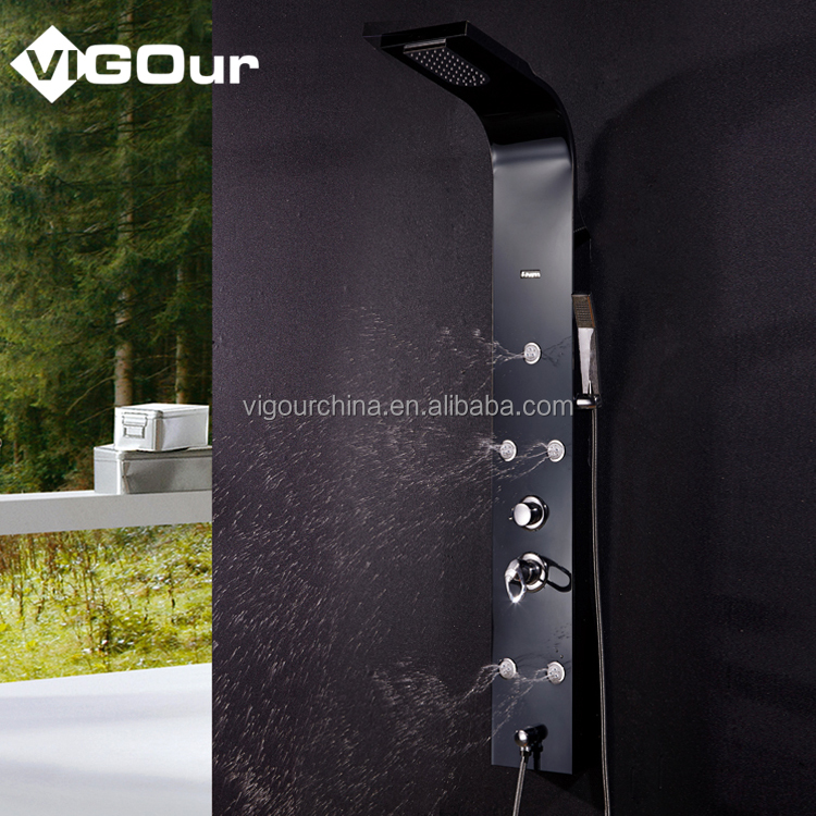 Black Color Waterproof Rain Shower Panel #BS-6975