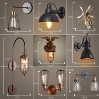 loft industrial wood wall sconce 2-lights antique rustic wrought iron wall lamp wtih ul/ce