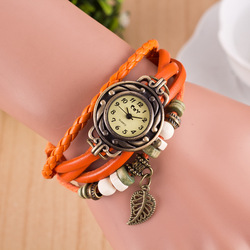 wholesale Leather Women Beads Bracelet Watch Fashion Ladies Girls Weave casual pendant wrist watches
