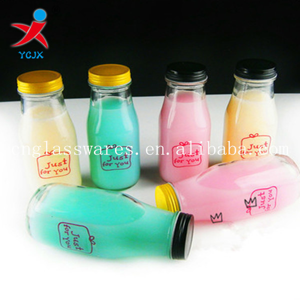 300ml glass jucie/coffee/milk bottle with lids for wholesale