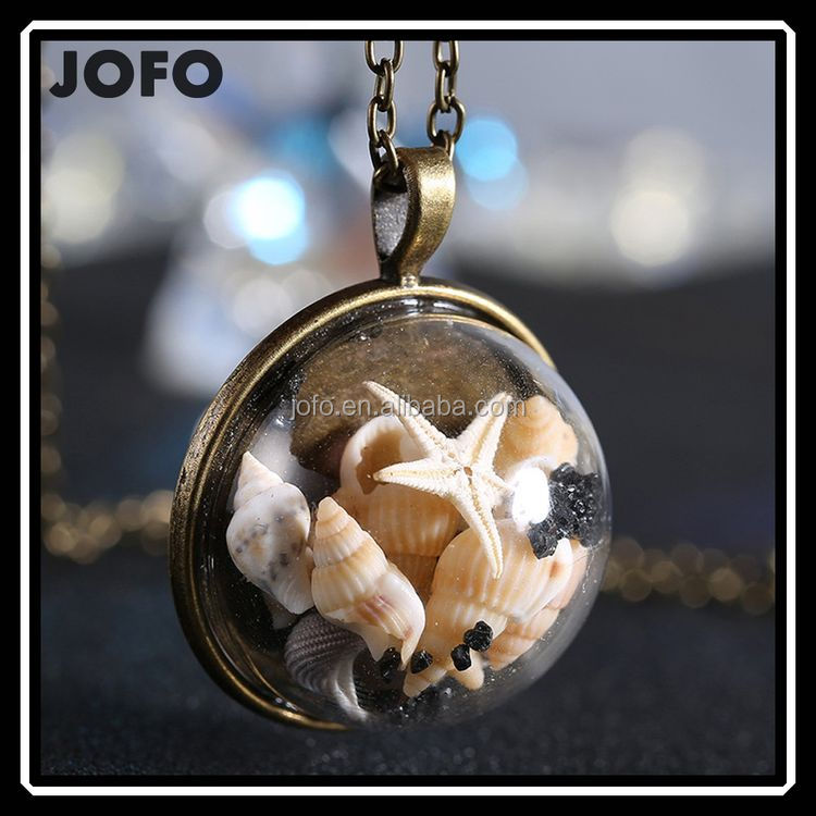 Glass Dome Sea Shell Time Fantasy Pendant Necklace Antique Bronze Plated Handmade Necklace
