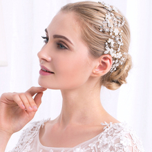 Romantic Wedding <strong>Hair</strong> Bands for Brides Pearl Crystal Wedding Bridal <strong>Hair</strong> <strong>Accessories</strong> Bridal <strong>Hair</strong> Vine Headband Silver