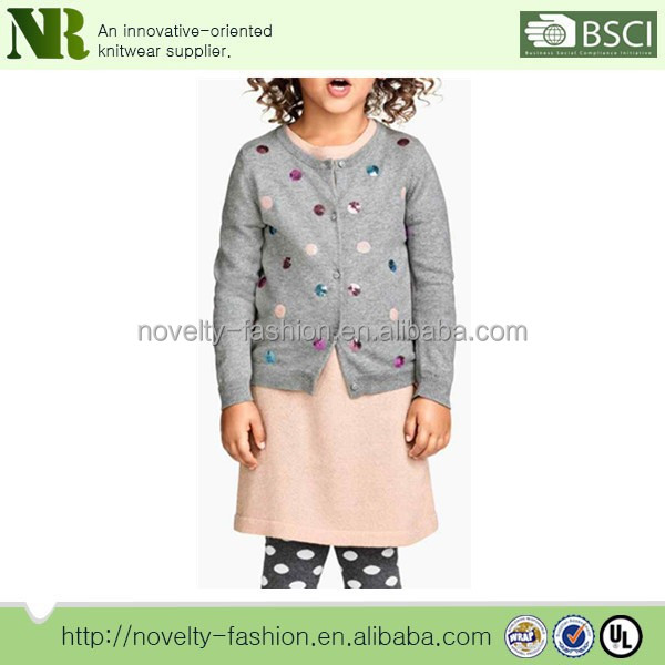 Fine-knit Kids cardigan Sweater in 100% cotton with sequined appliques