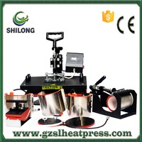 8 in 1 combo dye table cloth sublimation hydraulic football t-shirt 6 phonecase cup cap mug heat press printing machine