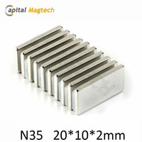 20*10*2mm Permanent Natural N35 Block Ndfeb Magnet For Sale