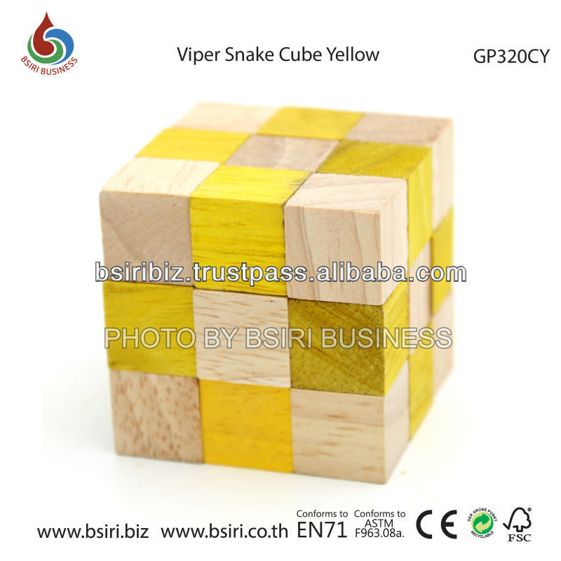 wooden magic snake cube Viper Snake Cube Yellow
