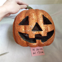 2017 new gifts glitter foam halloween pumpkin with led light