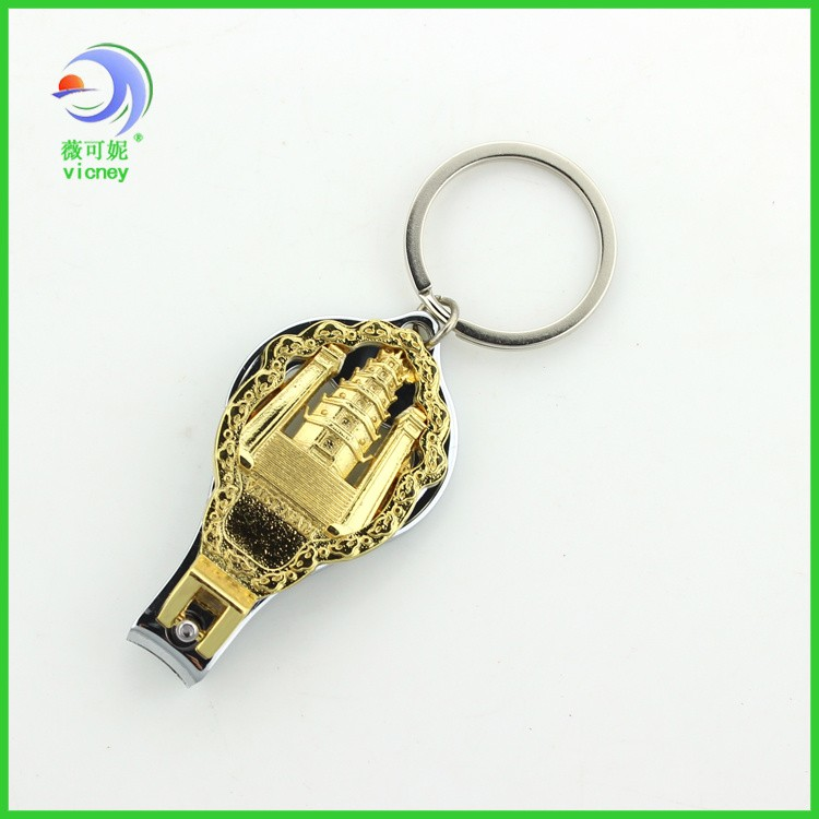 custom design metal keychain finger nail clipper with bottle opener