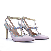 Ladies customized shoes manufacturers strappy gold stud shoes famous brand retail ladies shoes