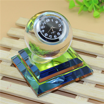 Angelic small Crystal Glass Table Clock for gifts, car clock for decoration