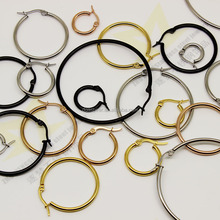 Latest Fashion Jewellery Designs 30mm Stainless Steel Gold Filled Hoop Earrings