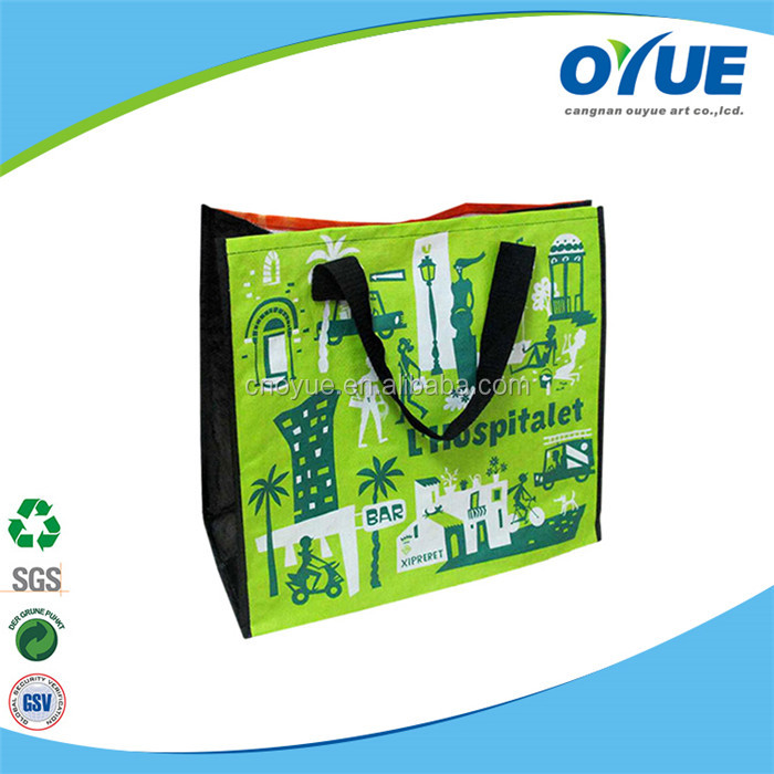 Customized OPP laminating pp woven recyclable shopping bag