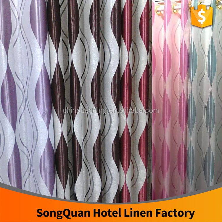 HOT SALE Jacquard stripe/circle blackout window curtain/hotel curtain