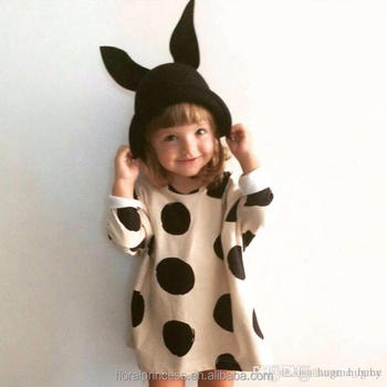 Baby girl dress girls princess skirt in autumn children The explosion wave point Dress baby long sleeve base dress baby