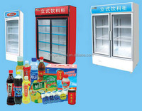 Small upright drink coolerator refrigerator beverage display cooler