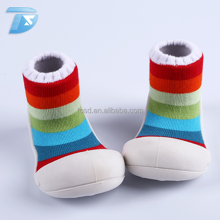colorful skidder shoes sock fashionable soft rubber sole baby shoe socks