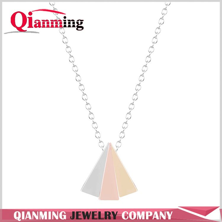 Power Neckalce Three Color Triangle Pendant Necklace For Women Boho Statement Triangle Chocker Necklace jewelry chain