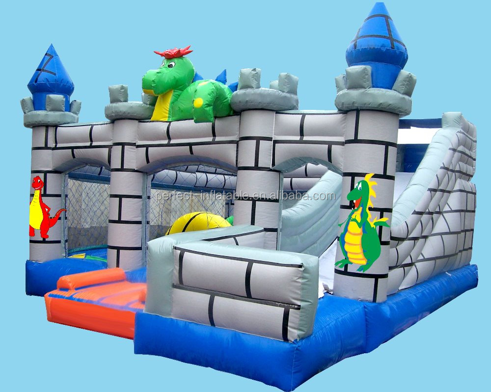 Lovely dragon kids inflatable dry slide, inflatable dry slide for sale