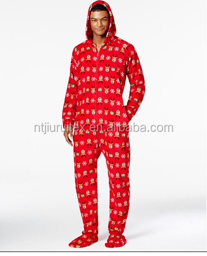 Men's Onesie Jumpsuit One Piece Hooded & Footed Pajama Playsuit