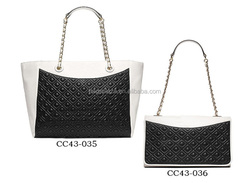 2017 Fashion Trendy PU Tote Bag and Satchel BagBlack White Embossed handbag