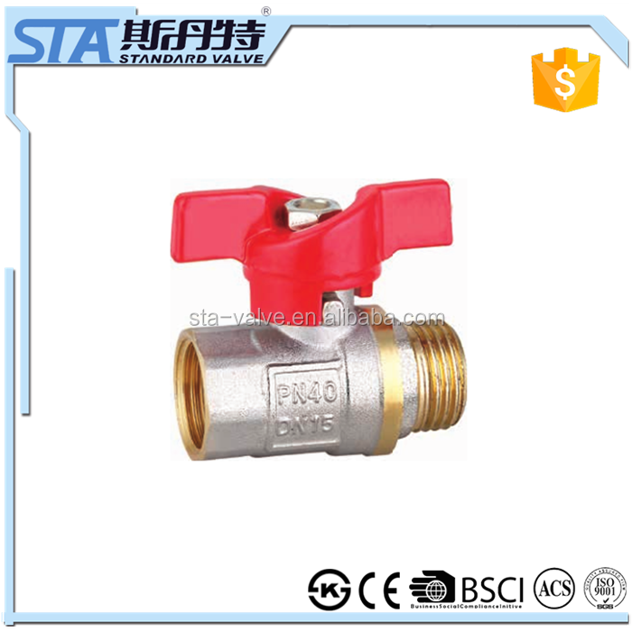 "ART.1025 3/4"" inch manual brass ball valve new brass bonnet with forged high quality and importer in delhi with butterfly handle"