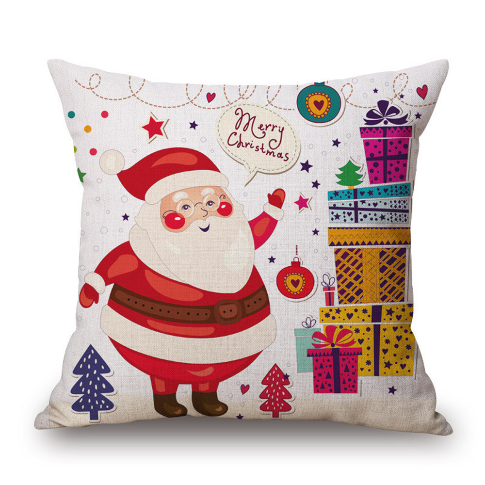 Custom christmas santa claus pillow cover priting cushion cover decorative pillow cover