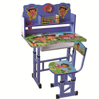 beautiful cartoon surface covering desk and chair for school furniture