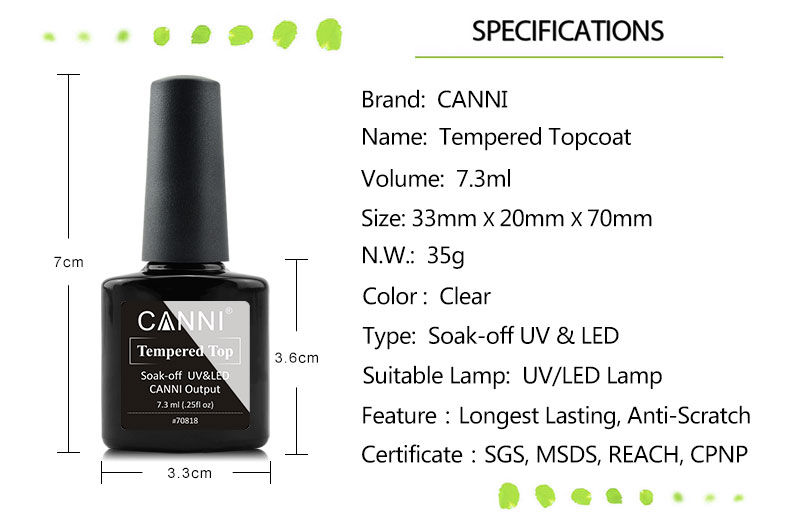 70818 Canni Nail Art Best Selling Products Of Enhance Tempered Top