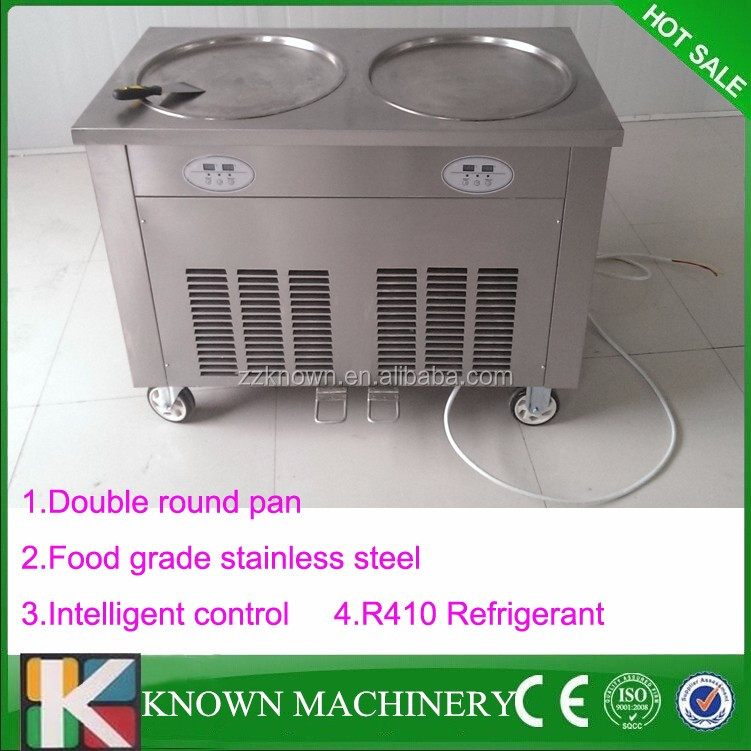 110v\220v Double round pan thailand egypt rolled fry ice cream maker machine