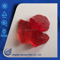 shiny red color glass rocks size 3cm