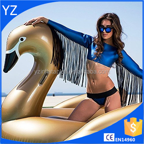 Inflatable Water Swan, Giant Inflatable Golden Swan Pool Floats