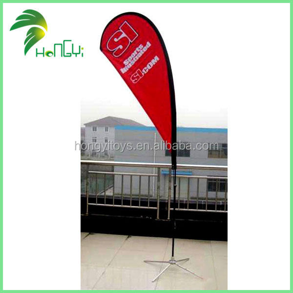 Custom Beach Flag Banner Tear Drop Shape For Advertising