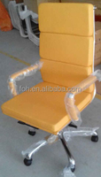 Contemporary Chrome and Yellow Swivel Executive Chair /Leather Office Director Chair(FOH-F77-A)