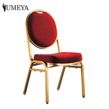 YT2022 wholesale golden frame steel banquet chairs stackable interlocking church chairs